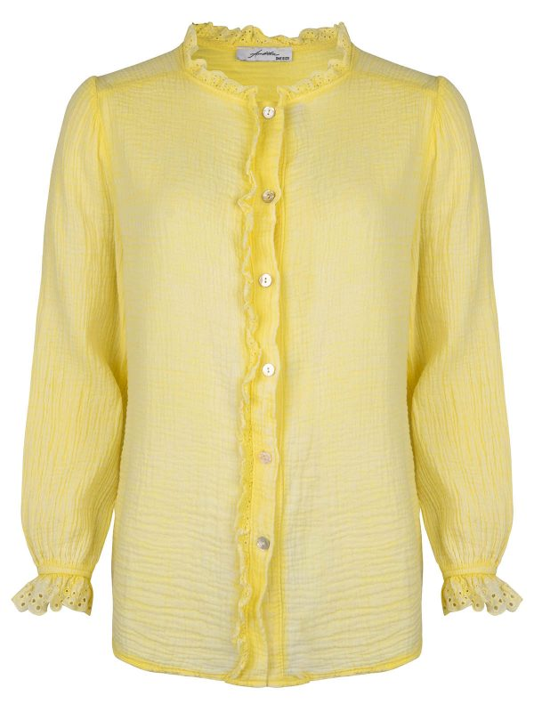 Ambika Blouse Broderie Kant Geel