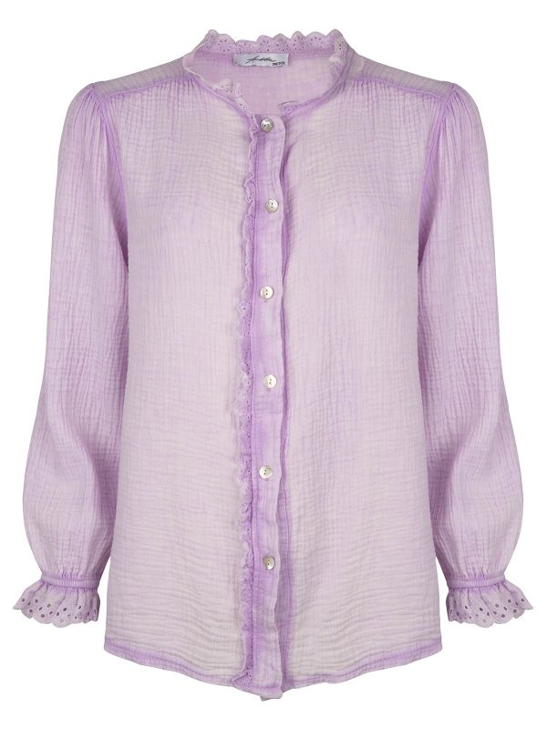 Ambika Blouse Broderie Kant Lila