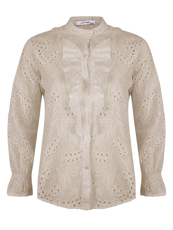 Ambika Blouse Broderie Ruches Kelly Beige