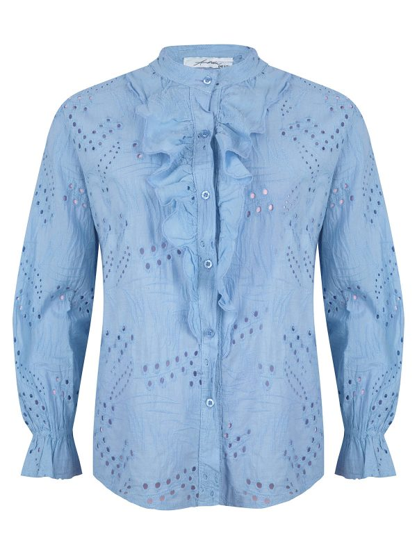 Ambika Blouse Broderie Ruches Kelly Blauw