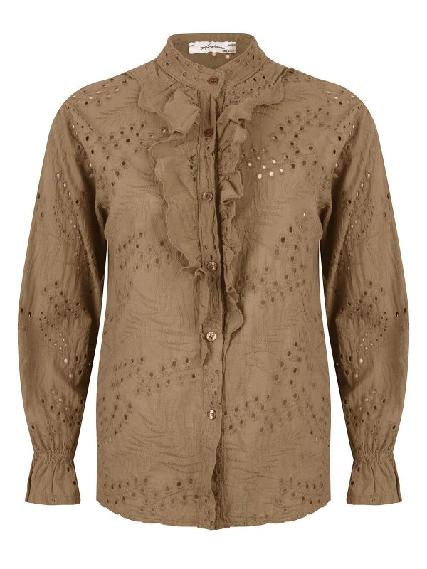 Ambika Blouse Broderie Ruches Kelly Camel