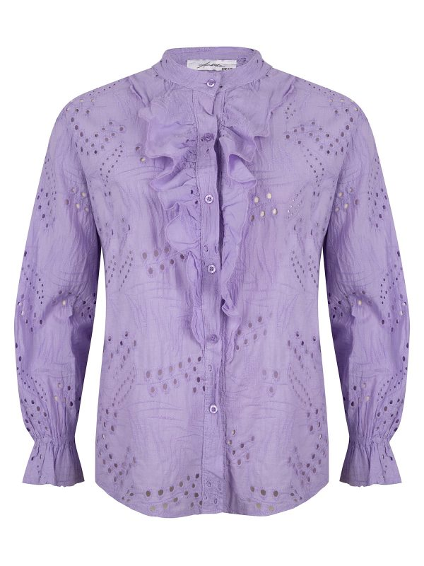 Ambika Blouse Broderie Ruches Kelly Lila