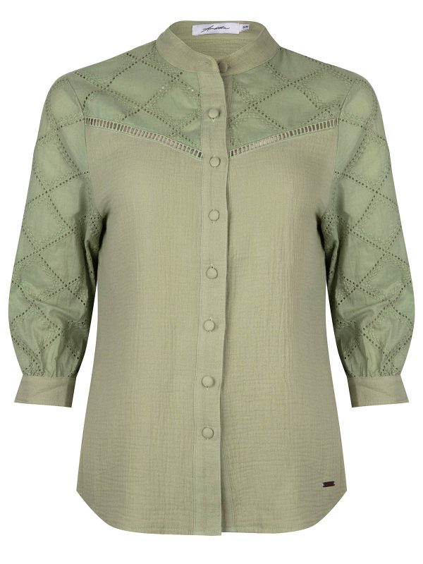 Ambika Blouse Broderie Army