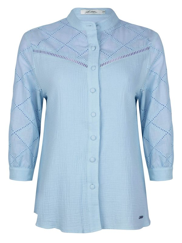 Ambika Blouse Broderie Blauw
