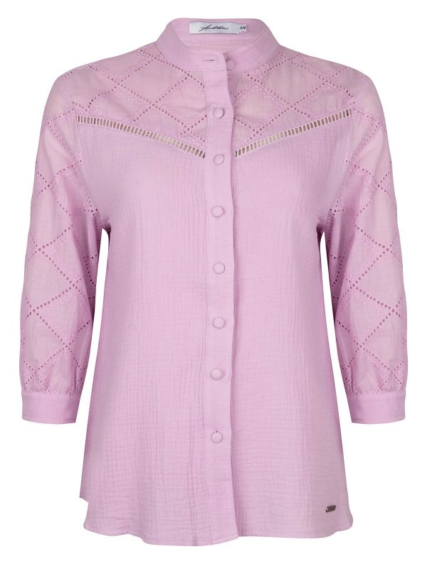 Ambika Blouse Broderie Lila