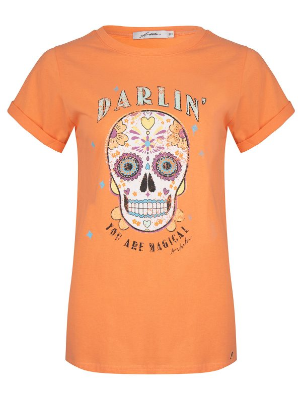 Ambika T-Shirt Darling Skull Peach