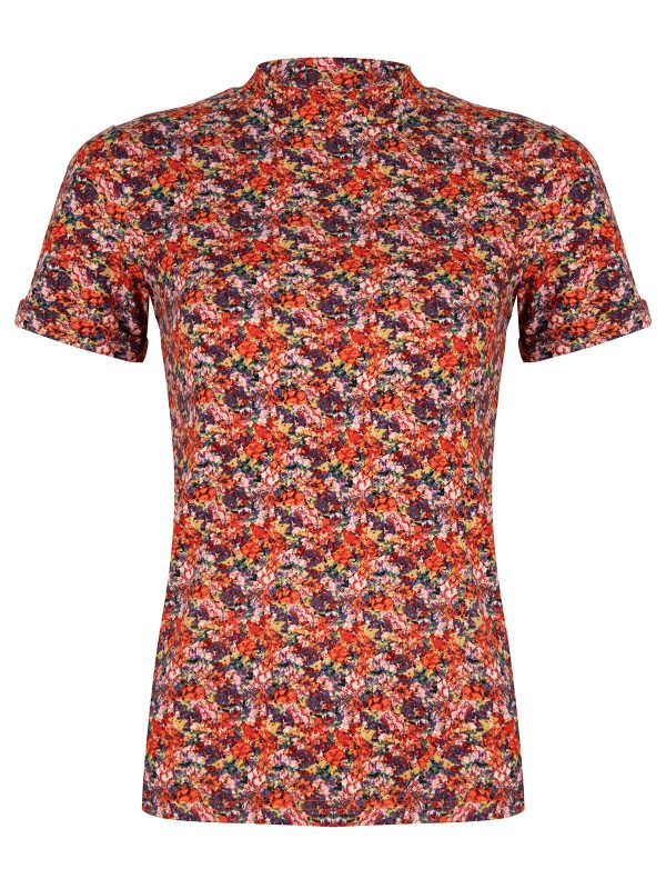 Ambika Top Mosley Flower Red Flower